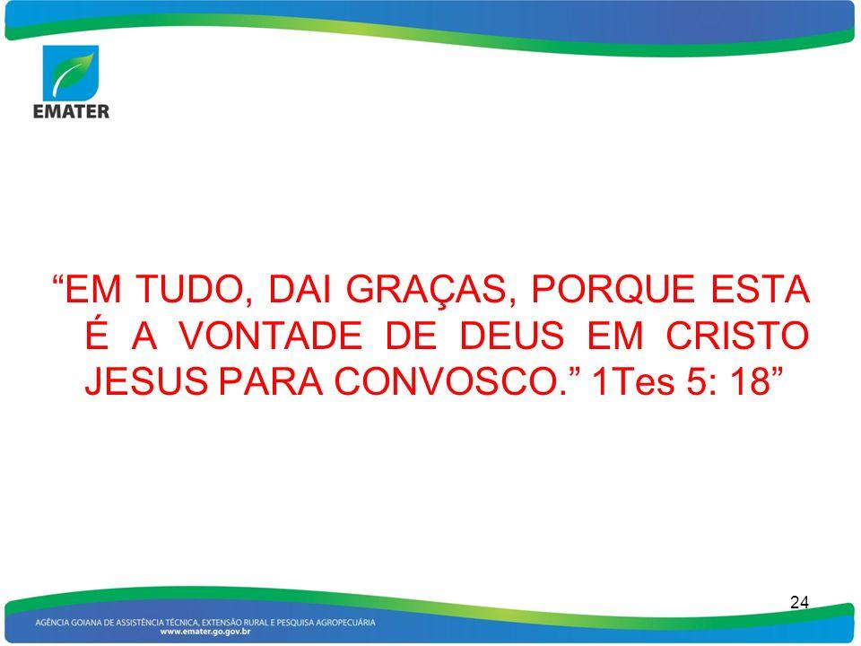 EM TUDO, DAI GRAÇAS, PORQUE ESTA É A VONTADE DE DEUS EM CRISTO JESUS PARA CONVOSCO. 1Tes 5: 18