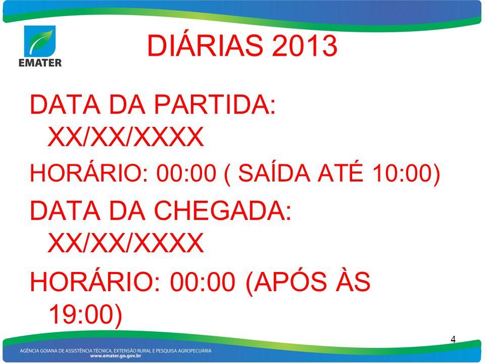 DIÁRIAS 2013 DATA DA PARTIDA: XX/XX/XXXX DATA DA CHEGADA: XX/XX/XXXX