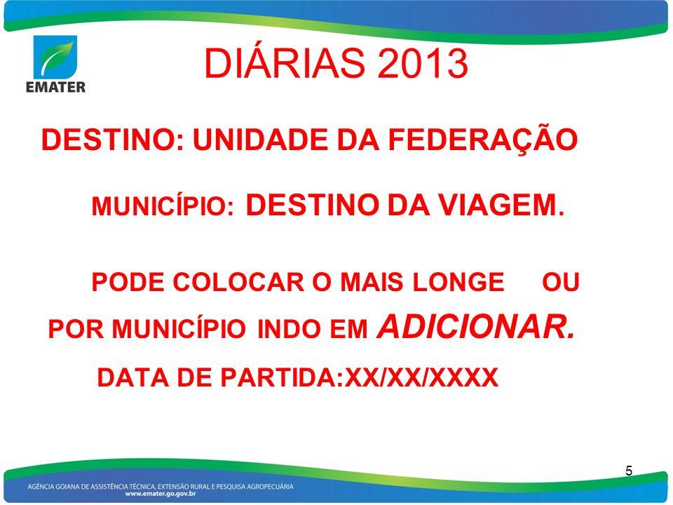 DIÁRIAS 2013 DATA DE PARTIDA:XX/XX/XXXX DESTINO: UNIDADE DA FEDERAÇÃO