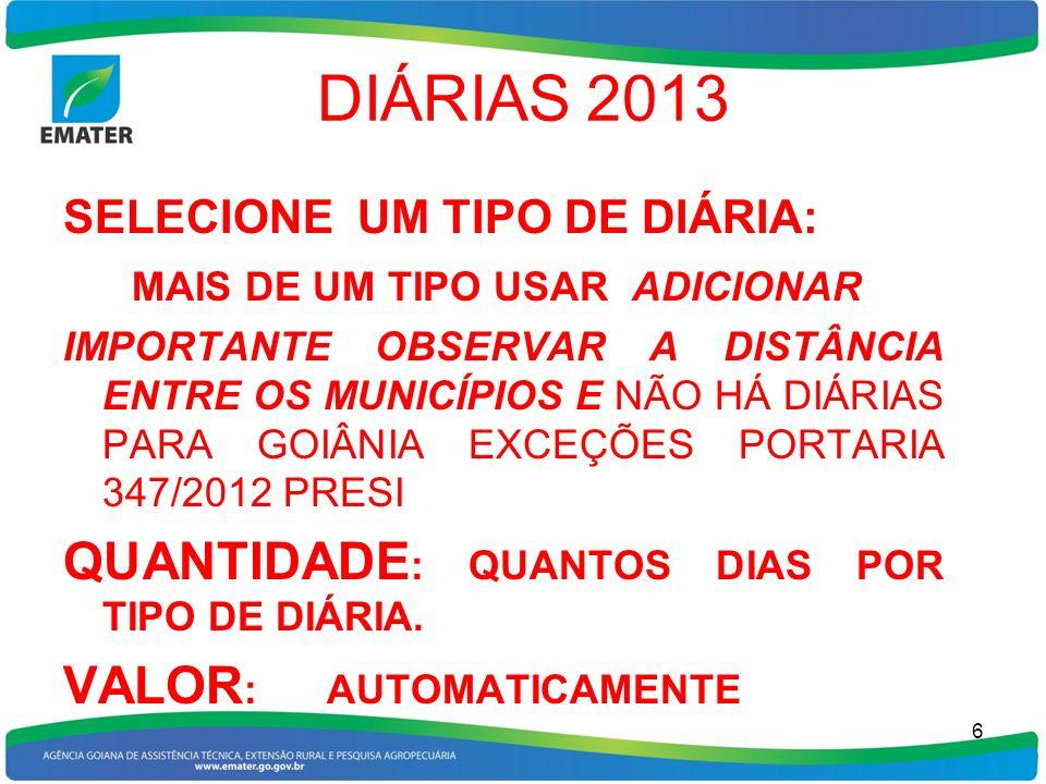 DIÁRIAS 2013 QUANTIDADE: QUANTOS DIAS POR TIPO DE DIÁRIA.