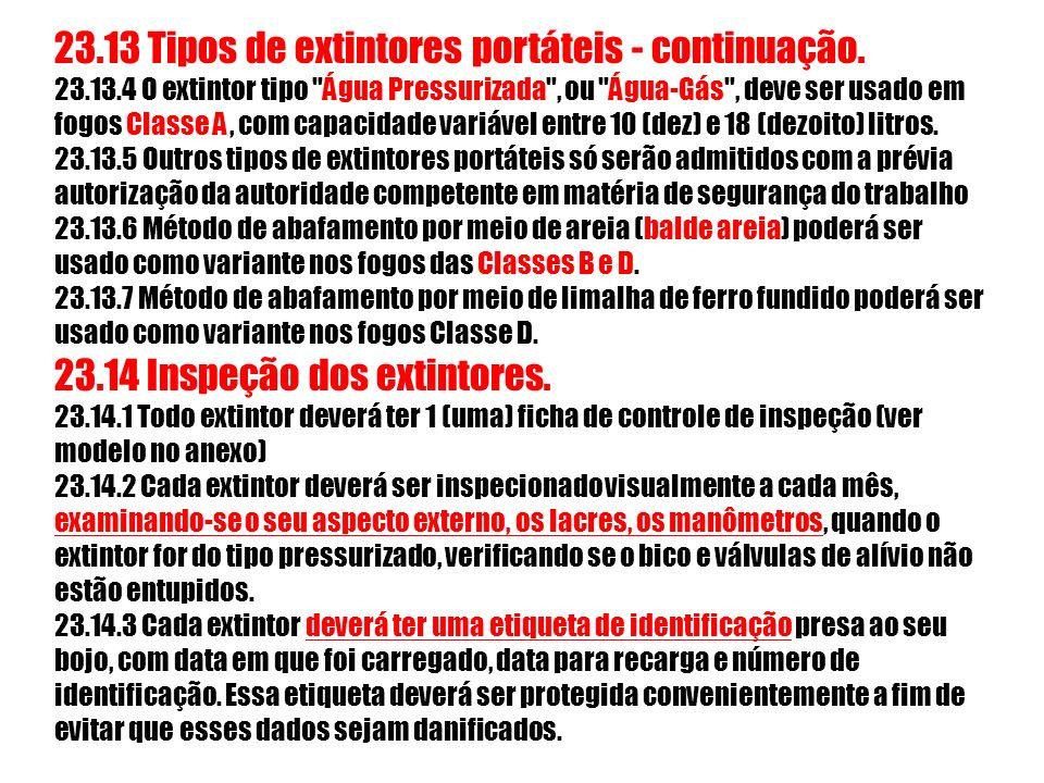 23.13 Tipos de extintores portáteis - continuação.