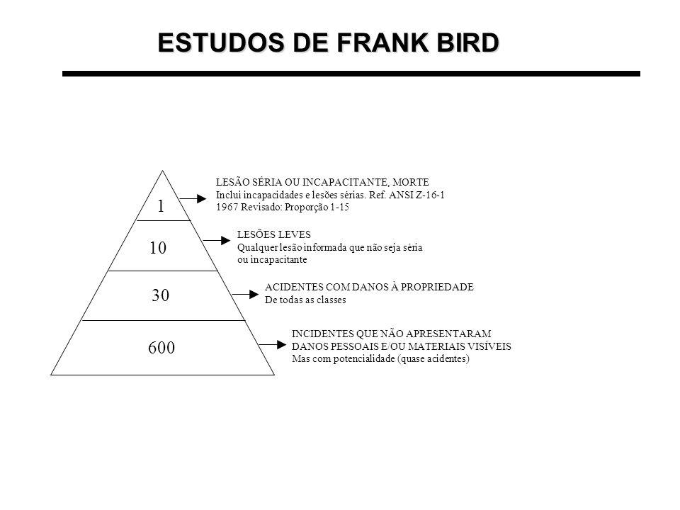 ESTUDOS DE FRANK BIRD 1 10 30 600 LESÃO SÉRIA OU INCAPACITANTE, MORTE