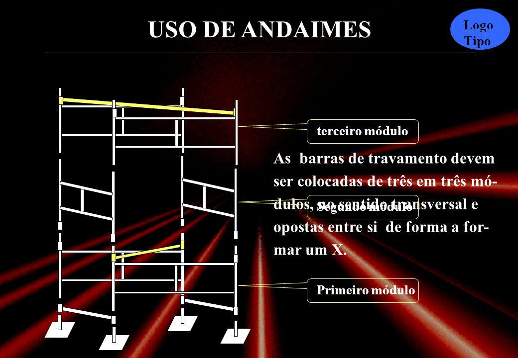 As barras de travamento devem ser colocadas de três em três mó-