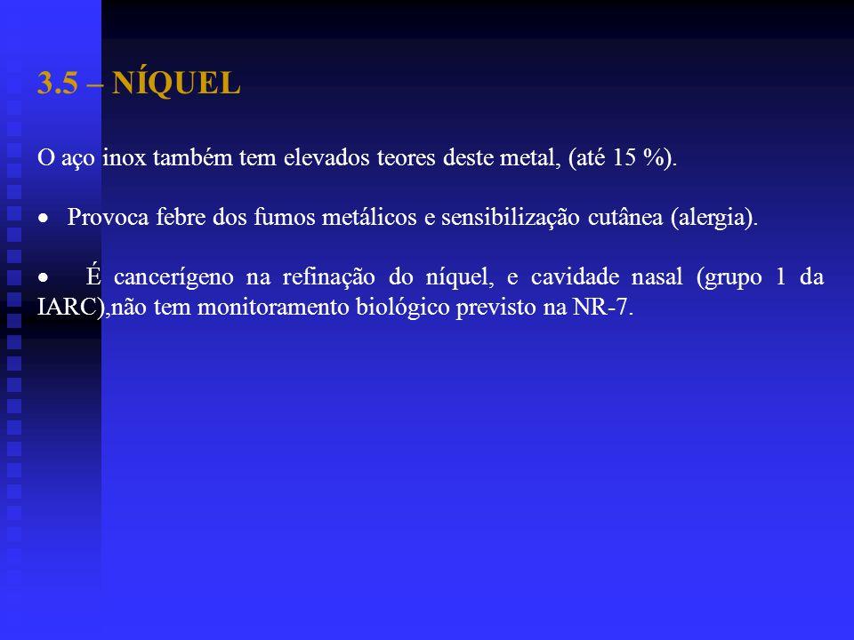3.5 – NÍQUEL O aço inox também tem elevados teores deste metal, (até 15 %).