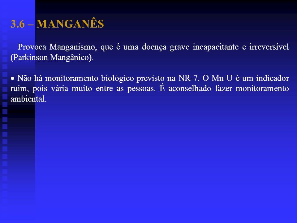 3.6 – MANGANÊS Provoca Manganismo, que é uma doença grave incapacitante e irreversível (Parkinson Mangânico).