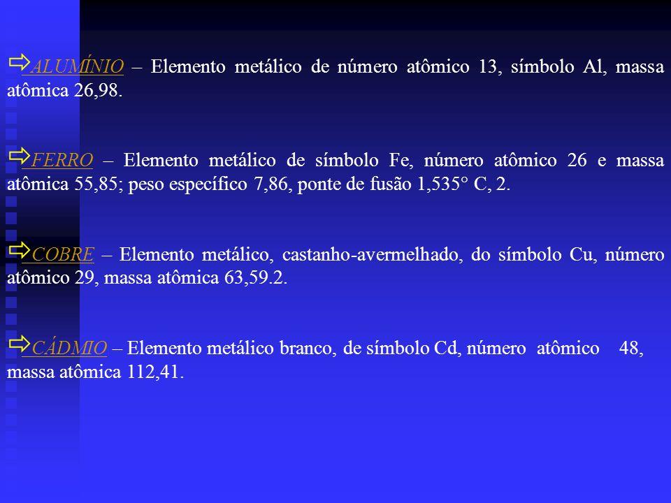 ALUMÍNIO – Elemento metálico de número atômico 13, símbolo Al, massa atômica 26,98.