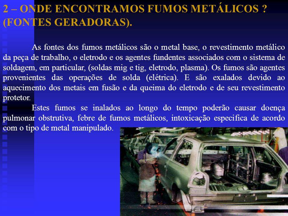 2 – ONDE ENCONTRAMOS FUMOS METÁLICOS (FONTES GERADORAS).