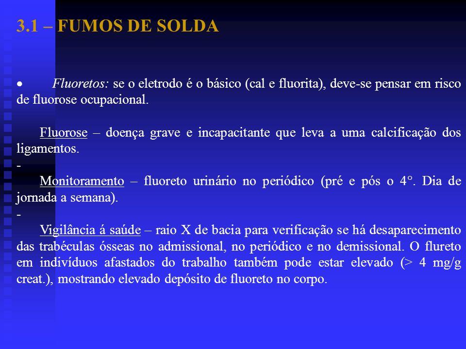 3.1 – FUMOS DE SOLDA · Fluoretos: se o eletrodo é o básico (cal e fluorita), deve-se pensar em risco de fluorose ocupacional.