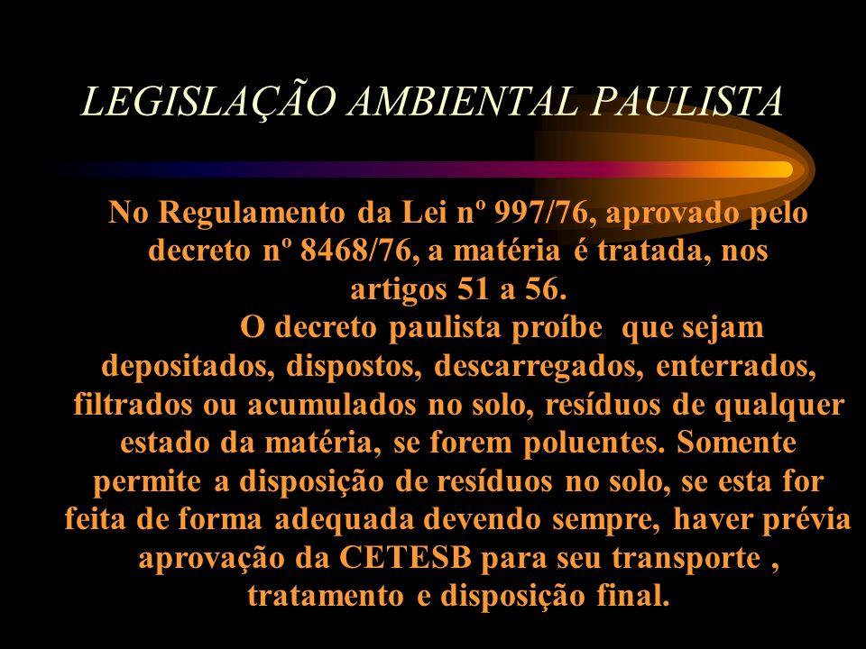LEGISLAÇÃO AMBIENTAL PAULISTA