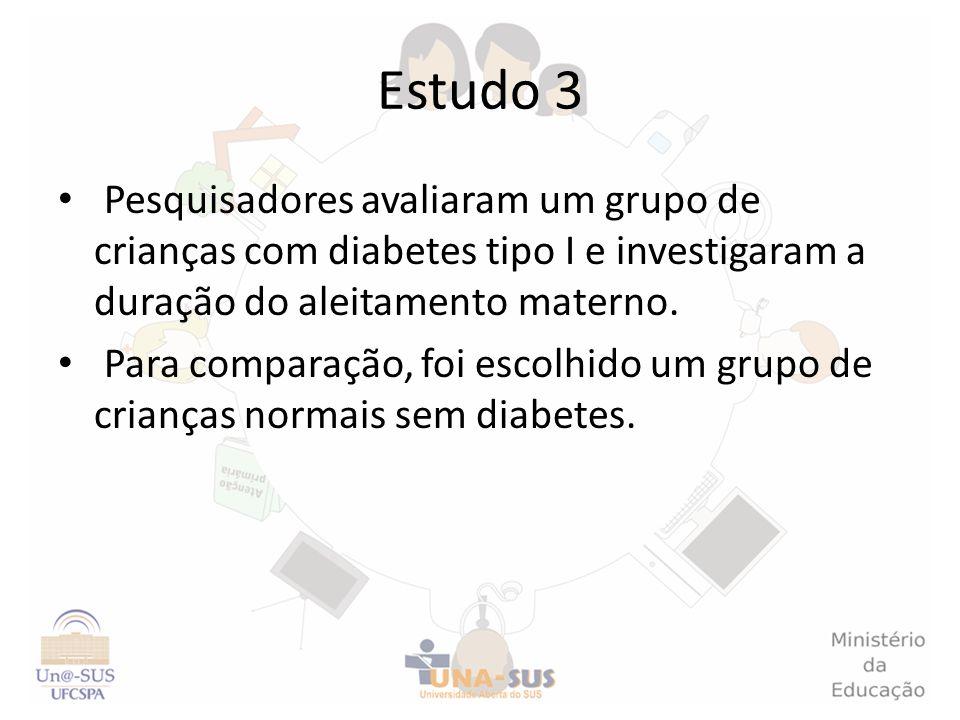 Estudo 3Pesquisadores avaliaram um grupo de crianças com diabetes tipo I e investigaram a duração do aleitamento materno.