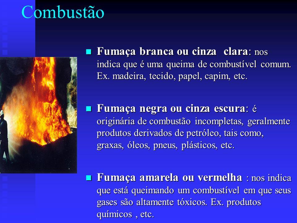 Combustão Fumaça branca ou cinza clara: nos indica que é uma queima de combustível comum. Ex. madeira, tecido, papel, capim, etc.