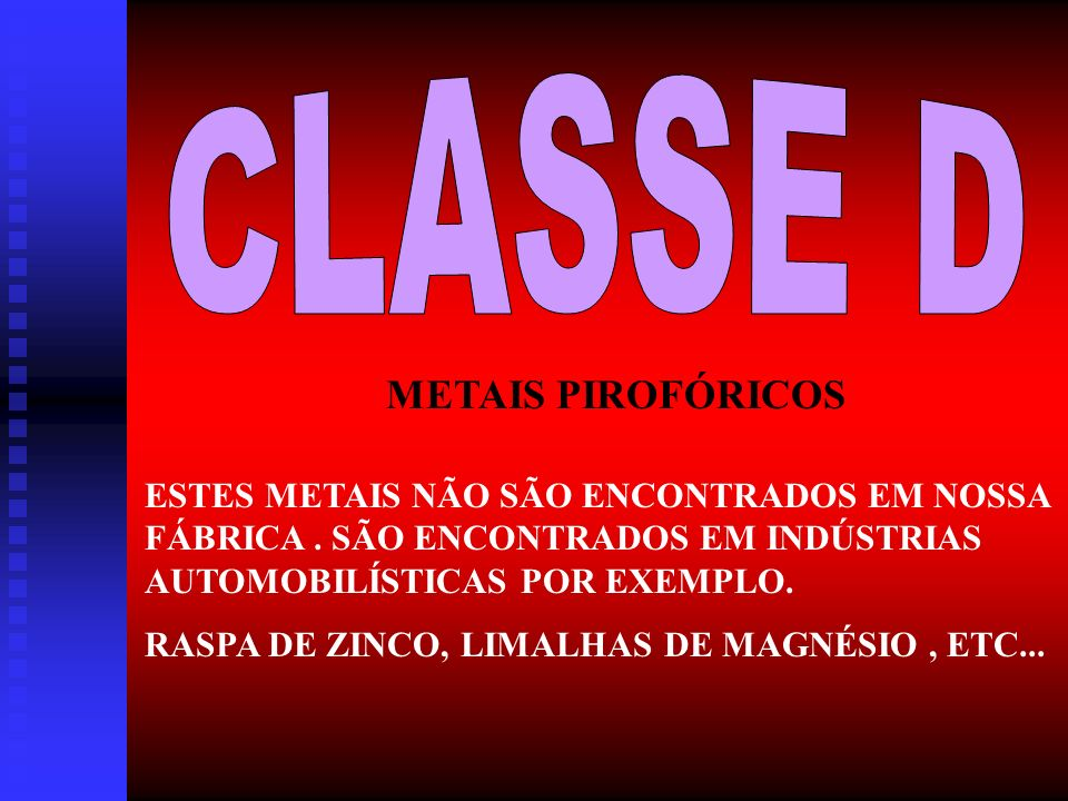 CLASSE D METAIS PIROFÓRICOS