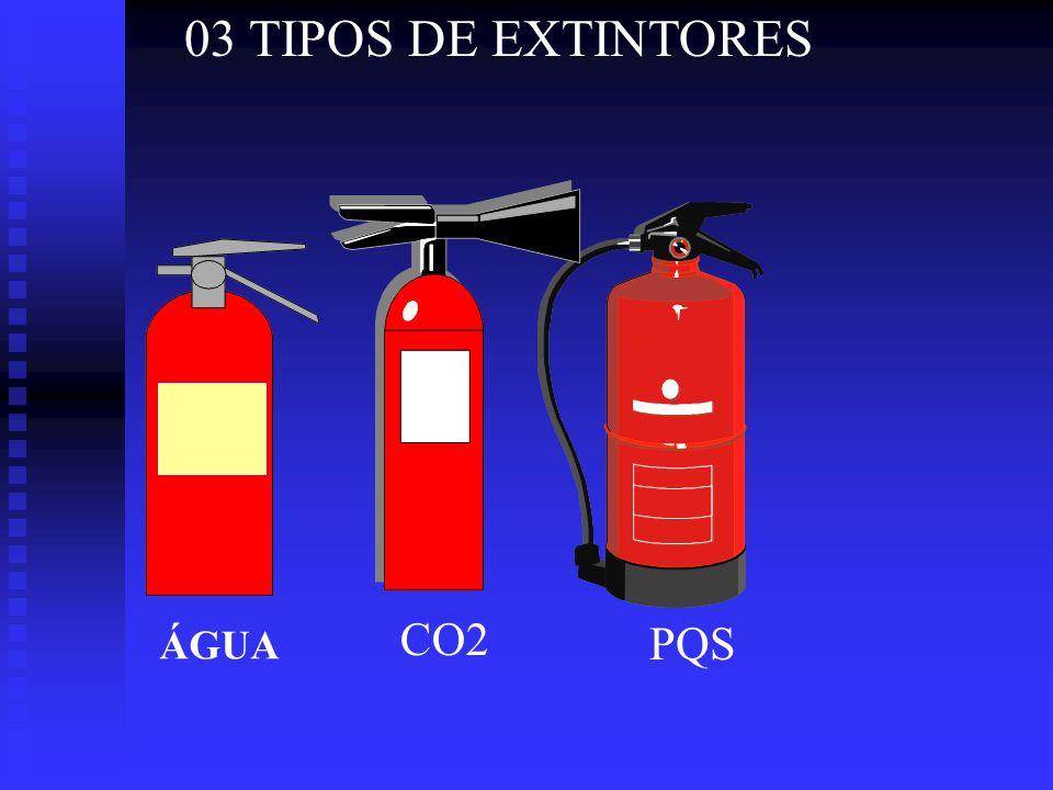 03 TIPOS DE EXTINTORES CO2 ÁGUA PQS