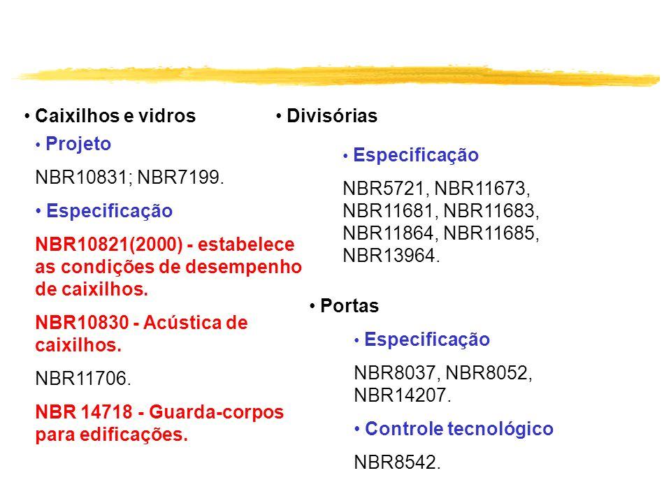 NBR10821(2000) - estabelece as condições de desempenho de caixilhos.
