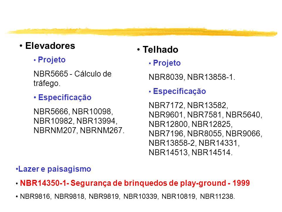 Telhado Elevadores NBR5665 - Cálculo de tráfego. NBR8039, NBR13858-1.