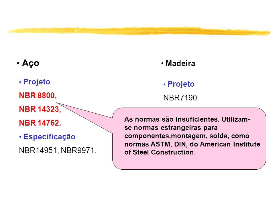Aço Madeira NBR 8800, NBR7190. NBR 14323, NBR 14762. Especificação