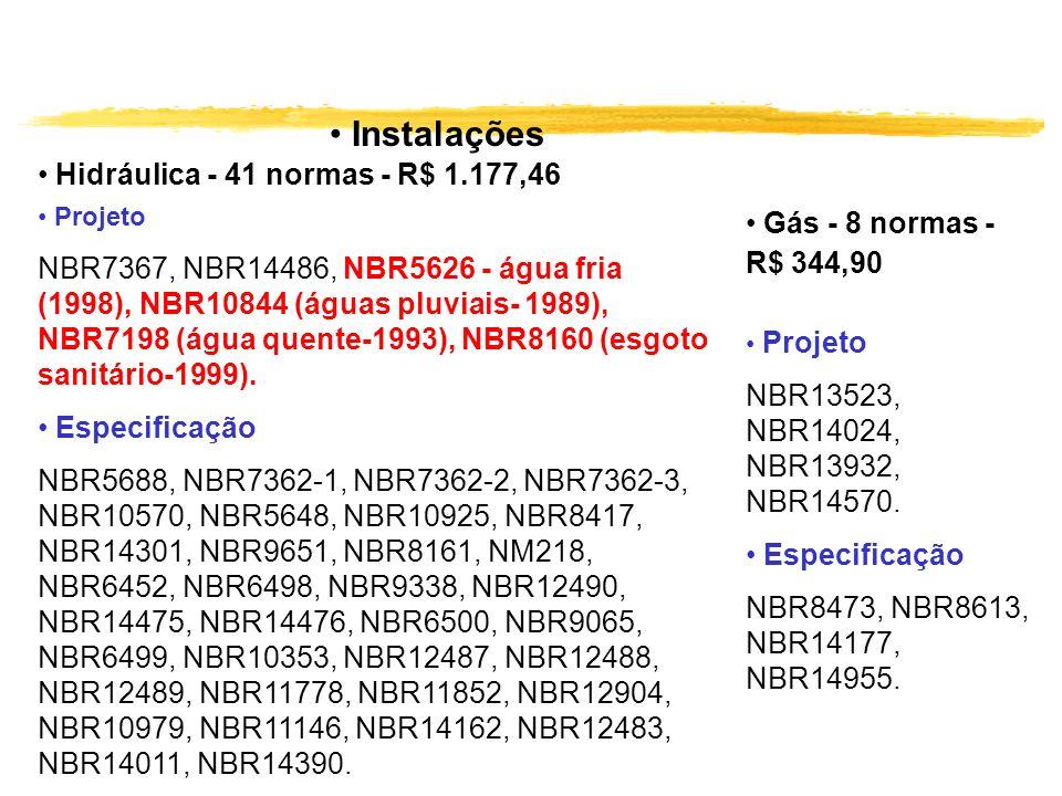 Instalações Gás - 8 normas - R$ 344,90