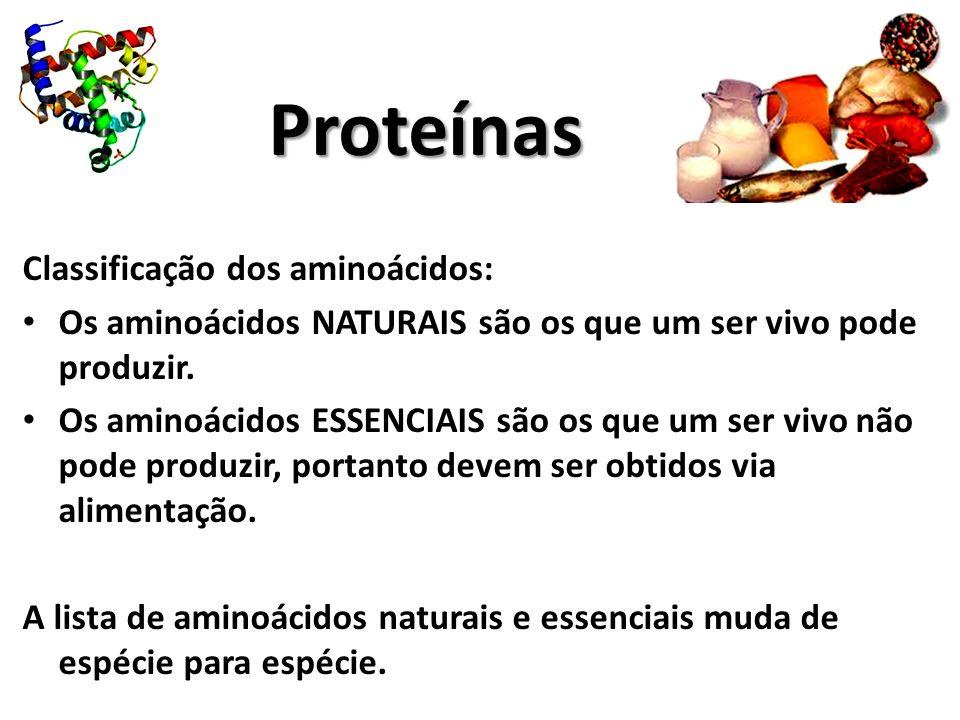 Proteínas Classificação dos aminoácidos:
