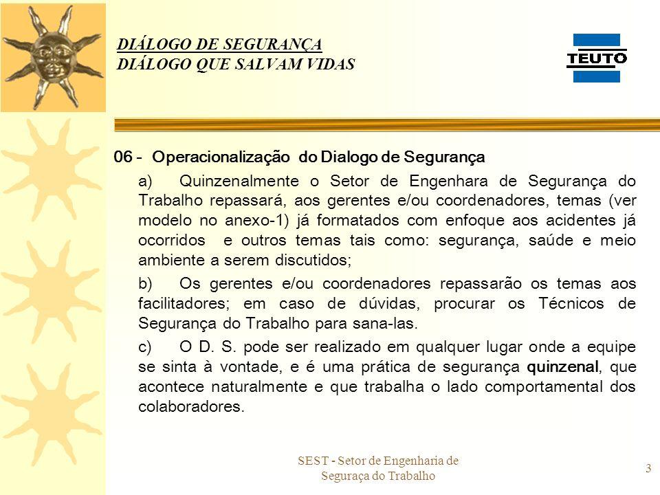 DIÁLOGO DE SEGURANÇA DIÁLOGO QUE SALVAM VIDAS