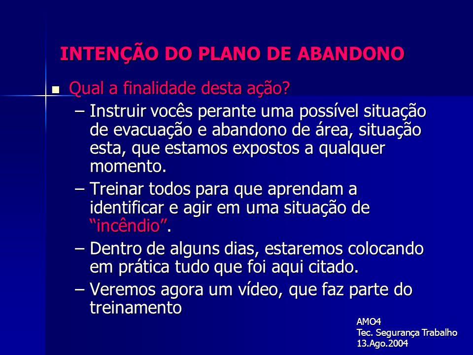 INTENÇÃO DO PLANO DE ABANDONO