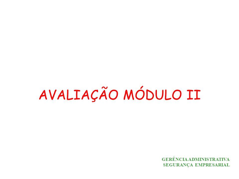 AVALIAÇÃO MÓDULO II GERÊNCIA ADMINISTRATIVA SEGURANÇA EMPRESARIAL