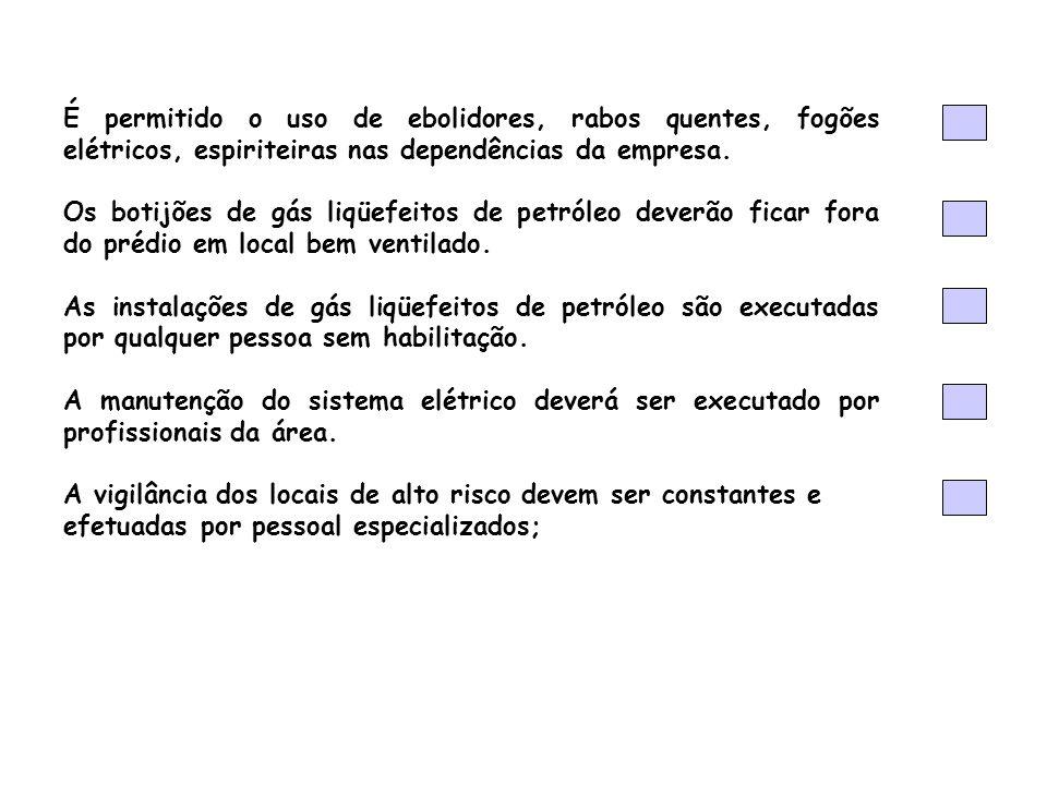 É permitido o uso de ebolidores, rabos quentes, fogões elétricos, espiriteiras nas dependências da empresa.