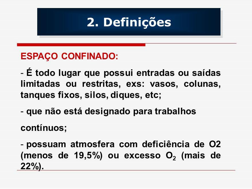 2. Definições ESPAÇO CONFINADO: