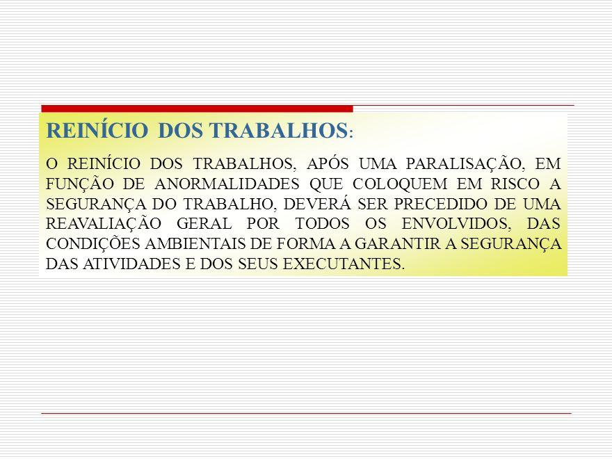 REINÍCIO DOS TRABALHOS: