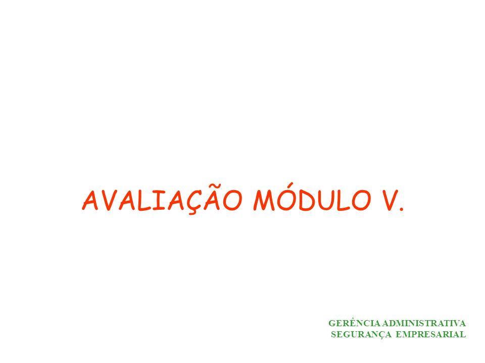AVALIAÇÃO MÓDULO V. GERÊNCIA ADMINISTRATIVA SEGURANÇA EMPRESARIAL