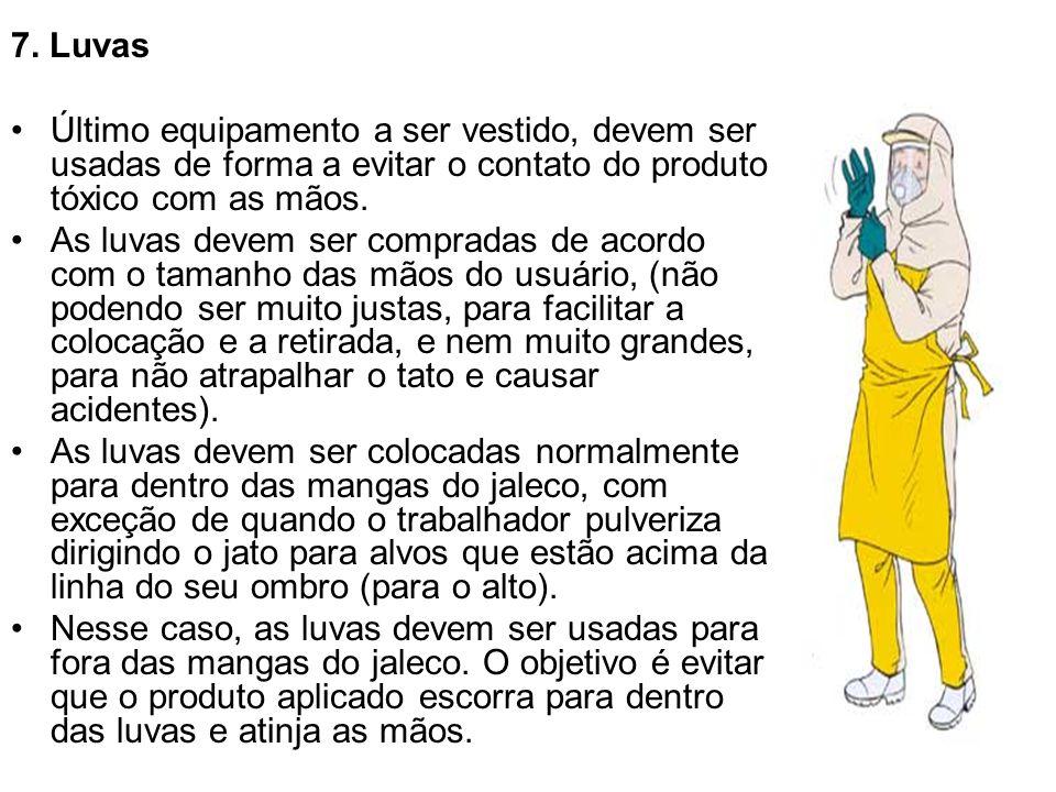 7. Luvas Último equipamento a ser vestido, devem ser usadas de forma a evitar o contato do produto tóxico com as mãos.
