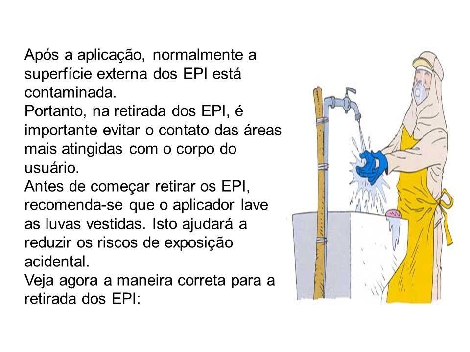 Após a aplicação, normalmente a superfície externa dos EPI está contaminada.