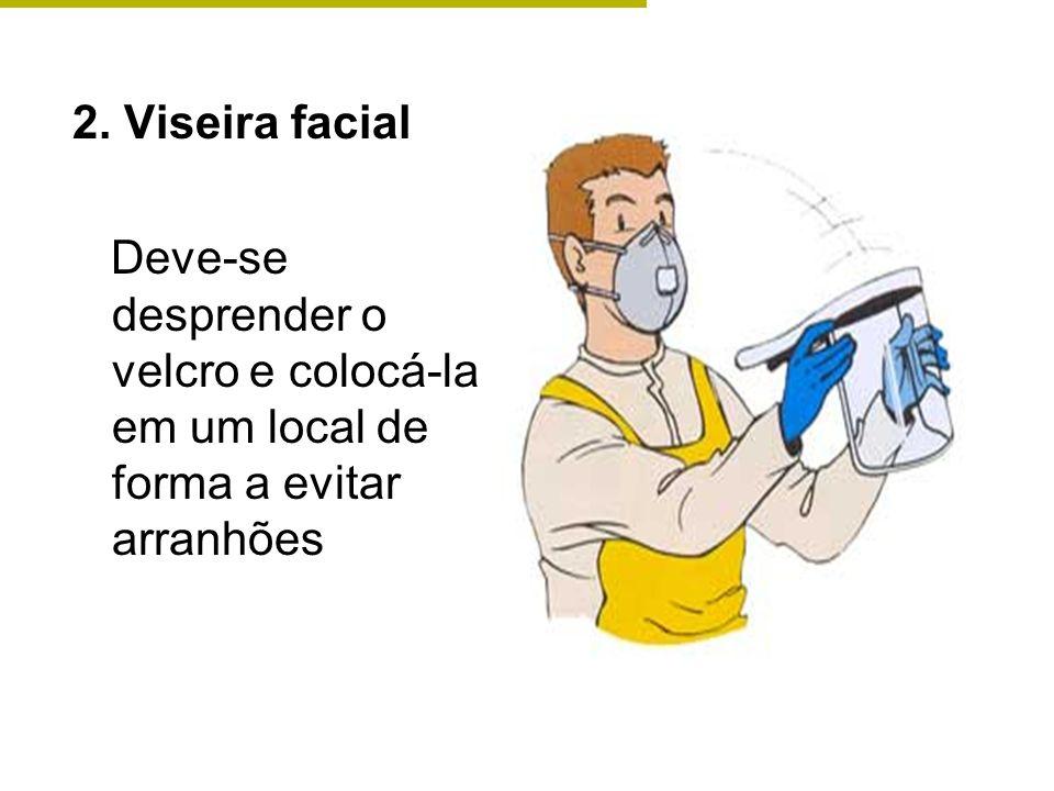 2. Viseira facial Deve-se desprender o velcro e colocá-la em um local de forma a evitar arranhões