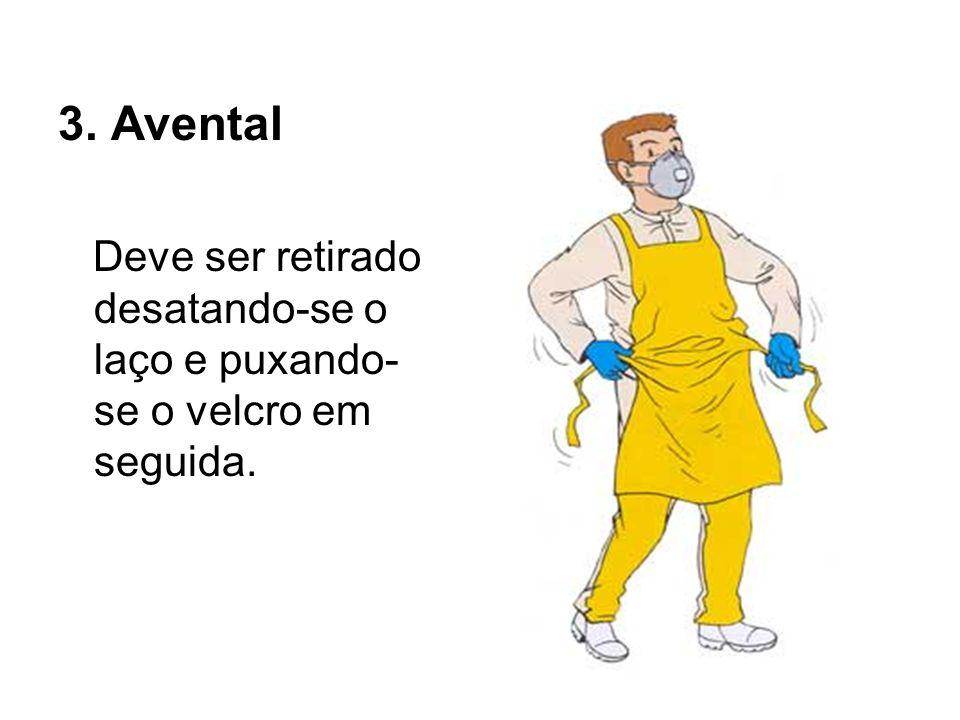 3. Avental Deve ser retirado desatando-se o laço e puxando-se o velcro em seguida.