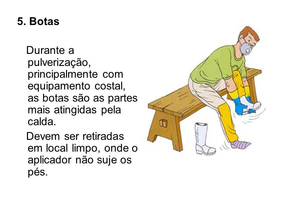 5. Botas Durante a pulverização, principalmente com equipamento costal, as botas são as partes mais atingidas pela calda.