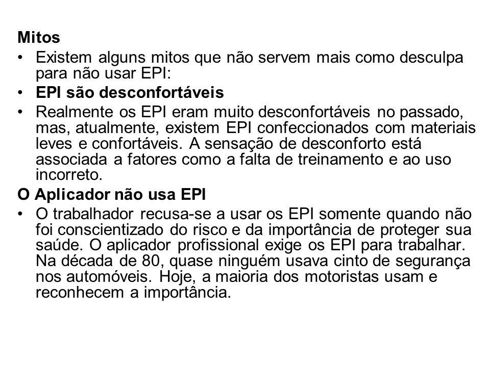 Mitos Existem alguns mitos que não servem mais como desculpa para não usar EPI: EPI são desconfortáveis.