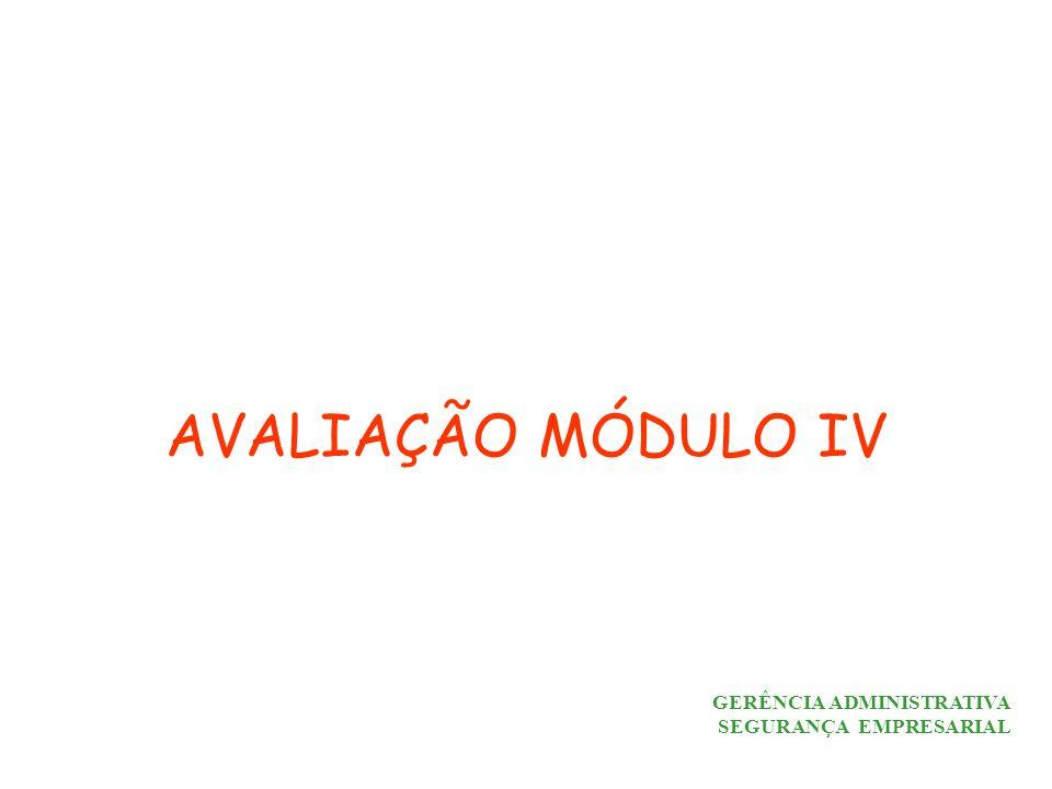AVALIAÇÃO MÓDULO IV GERÊNCIA ADMINISTRATIVA SEGURANÇA EMPRESARIAL