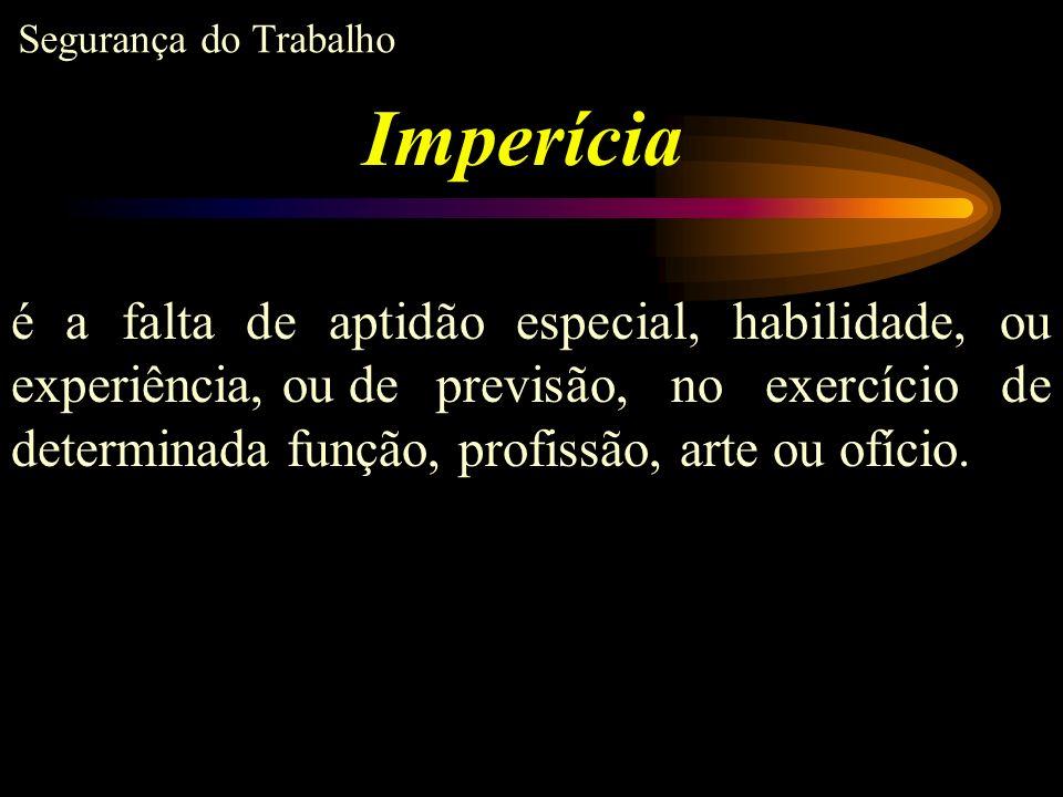 Imperícia é a falta de aptidão especial, habilidade, ou experiência, ou de previsão, no exercício de determinada função, profissão, arte ou ofício.