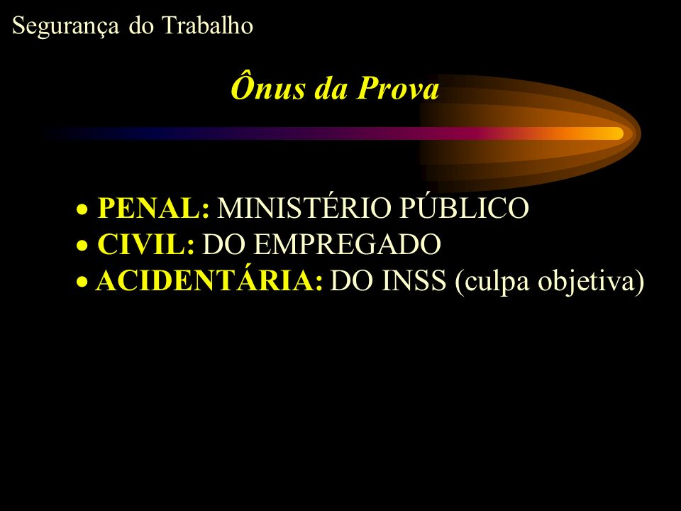 Ônus da Prova PENAL: MINISTÉRIO PÚBLICO CIVIL: DO EMPREGADO