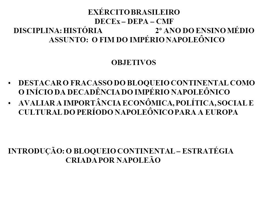 EXÉRCITO BRASILEIRO DECEx – DEPA – CMF DISCIPLINA: HISTÓRIA 2º ANO DO ENSINO MÉDIO ASSUNTO: O FIM DO IMPÉRIO NAPOLEÔNICO