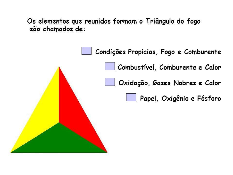Os elementos que reunidos formam o Triângulo do fogo