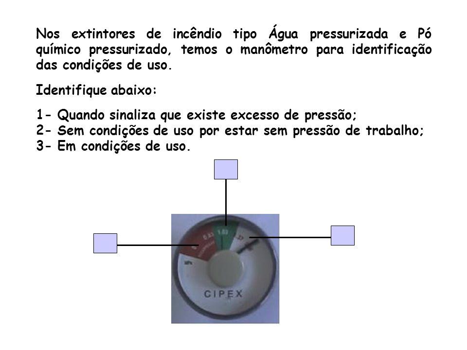 Nos extintores de incêndio tipo Água pressurizada e Pó químico pressurizado, temos o manômetro para identificação das condições de uso.