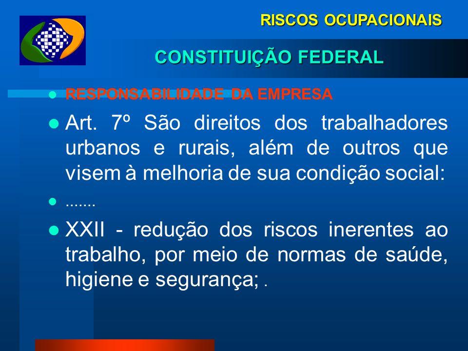RISCOS OCUPACIONAIS CONSTITUIÇÃO FEDERAL. RESPONSABILIDADE DA EMPRESA.