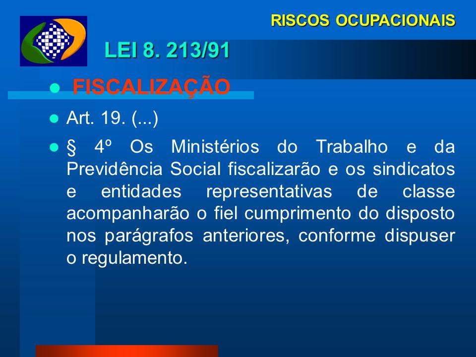 LEI 8. 213/91 FISCALIZAÇÃO Art. 19. (...)