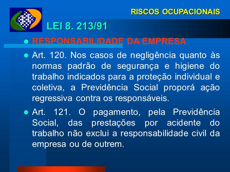 LEI 8. 213/91 RESPONSABILIDADE DA EMPRESA