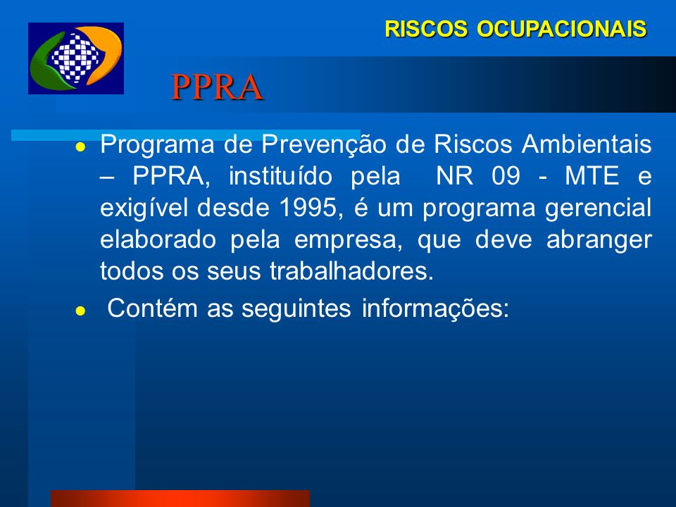 RISCOS OCUPACIONAIS PPRA.