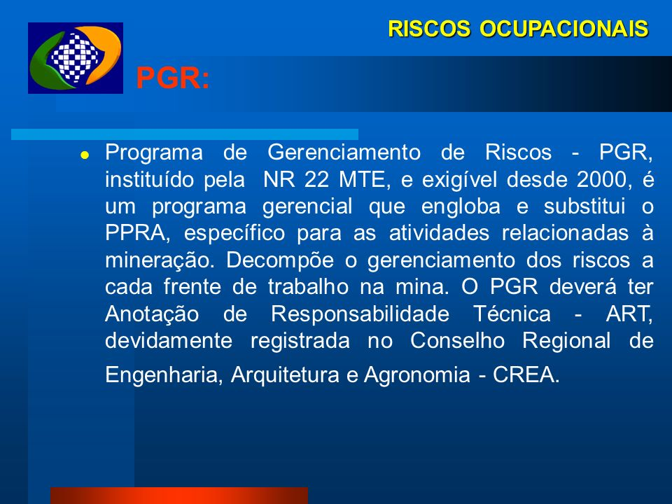 PGR: RISCOS OCUPACIONAIS