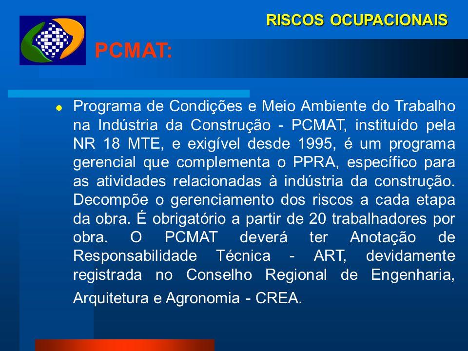 PCMAT: RISCOS OCUPACIONAIS