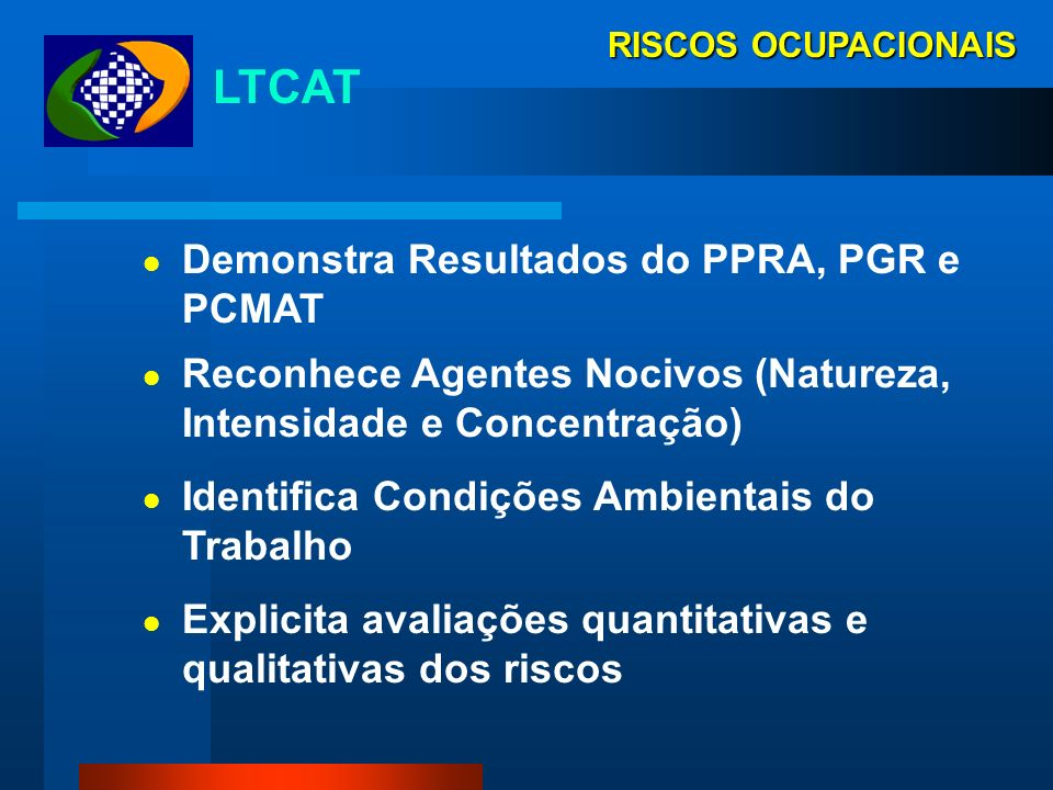 LTCAT Demonstra Resultados do PPRA, PGR e PCMAT