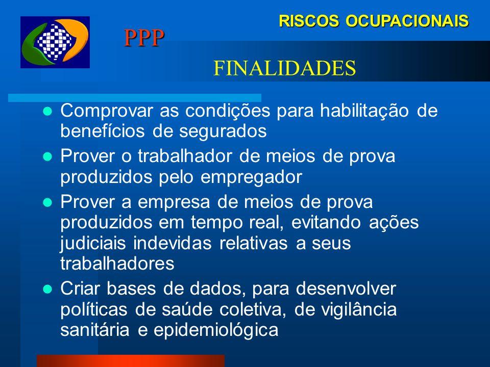 RISCOS OCUPACIONAIS PPP. FINALIDADES. Comprovar as condições para habilitação de benefícios de segurados.