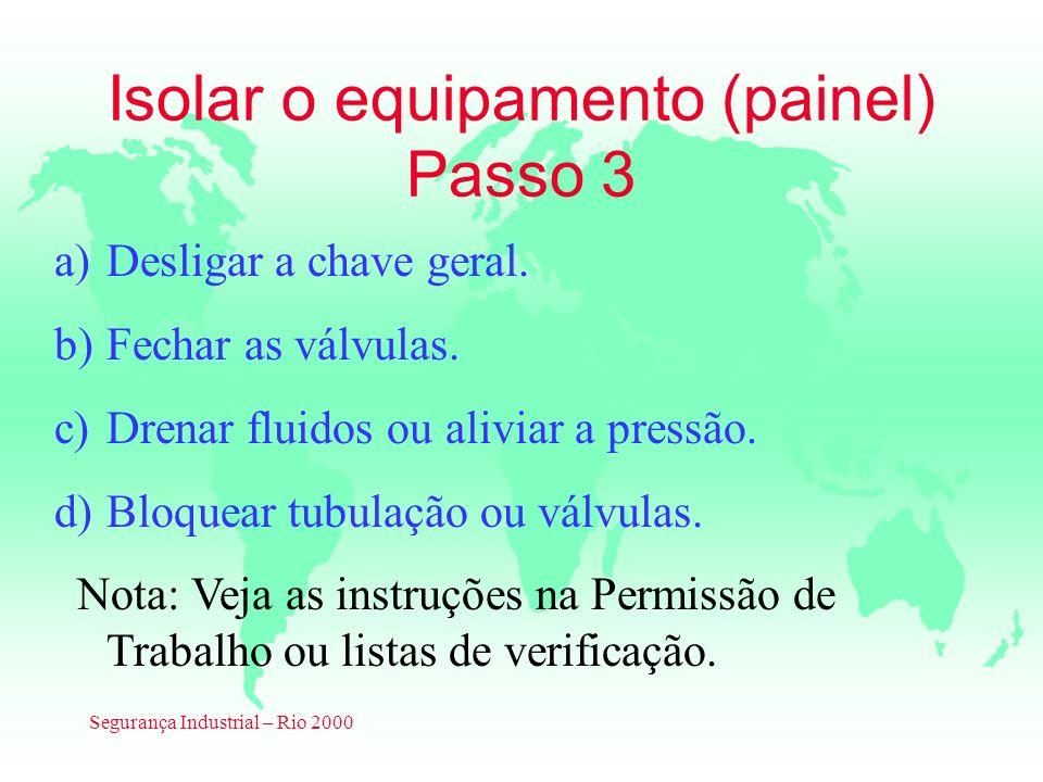 Isolar o equipamento (painel) Passo 3